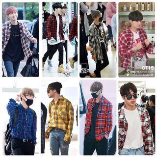 Kemeja BTS ARMY / kemeja flannel kotak kotak / flanel shirt