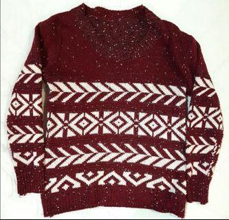 Maroon Crochet Sweater