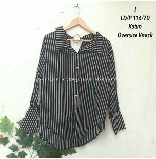 Kemeja Stripe Oversize (free ongkir)