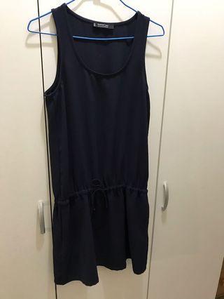 二手 MANGO 深藍 洋裝 無袖 縮腰