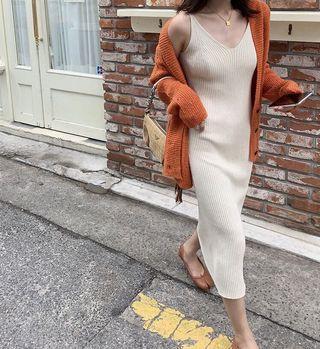 秋裝 氣質修身針織無袖V領 連身裙