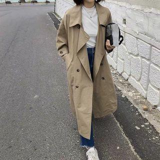 秋裝 簡約收腰寬鬆 大衣 風衣 外套 卡其色