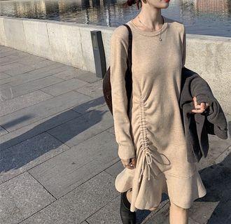 簡約抽繩莫代爾長袖洋裝 連身裙 秋