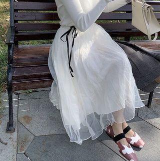 秋 甜美高腰中長款 紗裙 A字裙