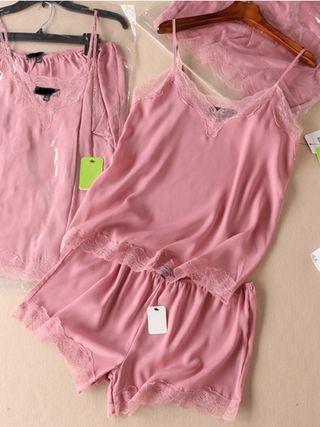 Pink Lace-Trimmed Flirty Nightwear