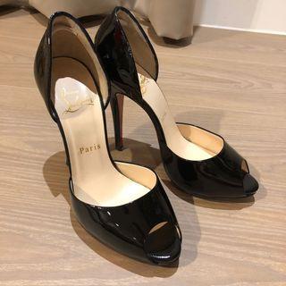 Christian Louboutin紅底漆皮魚口鞋(37.5)