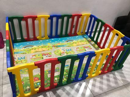 Jolly Kidz Magic Panel Playpen + Dwingular Premium Eco- Friendly Playmat