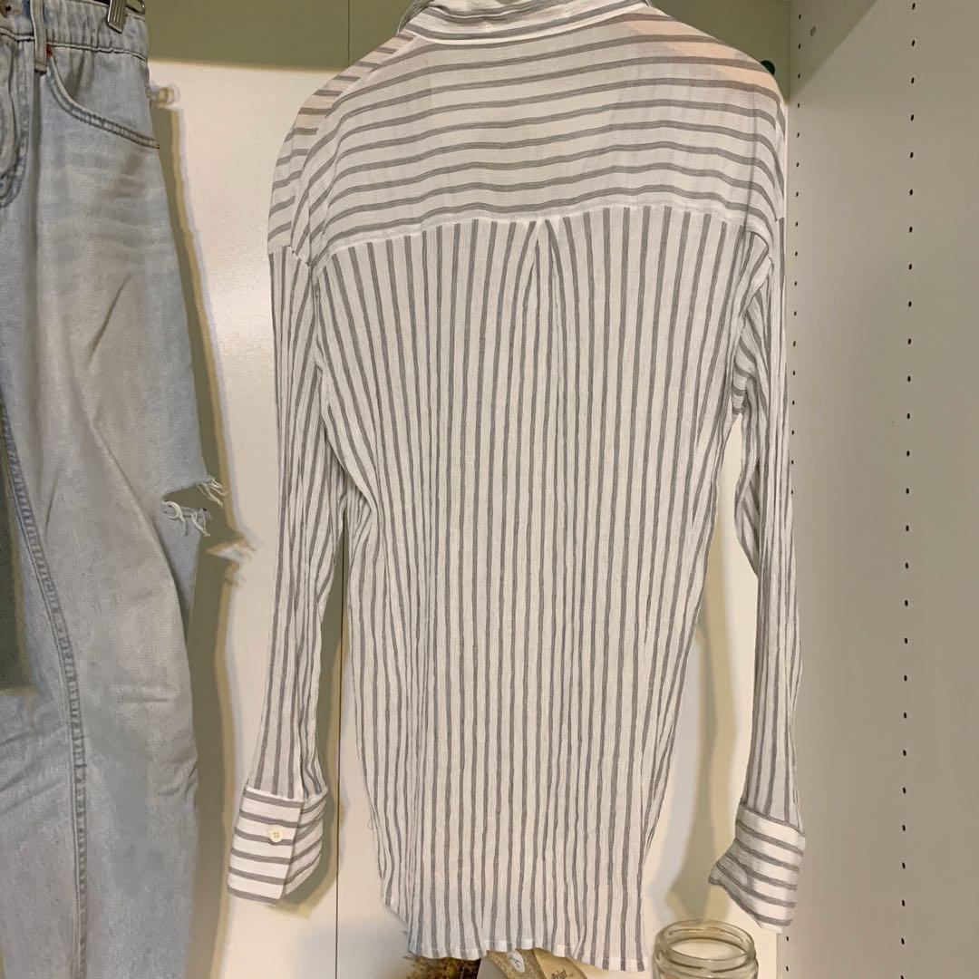 正韓🇰🇷彈性雪紡條紋微透襯衫