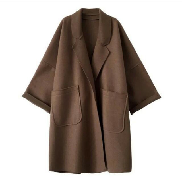 韓妞反車線毛呢長版外套 大衣
