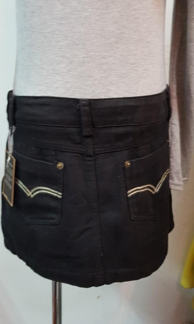 韓版底腰牛仔裙  黑色 M號