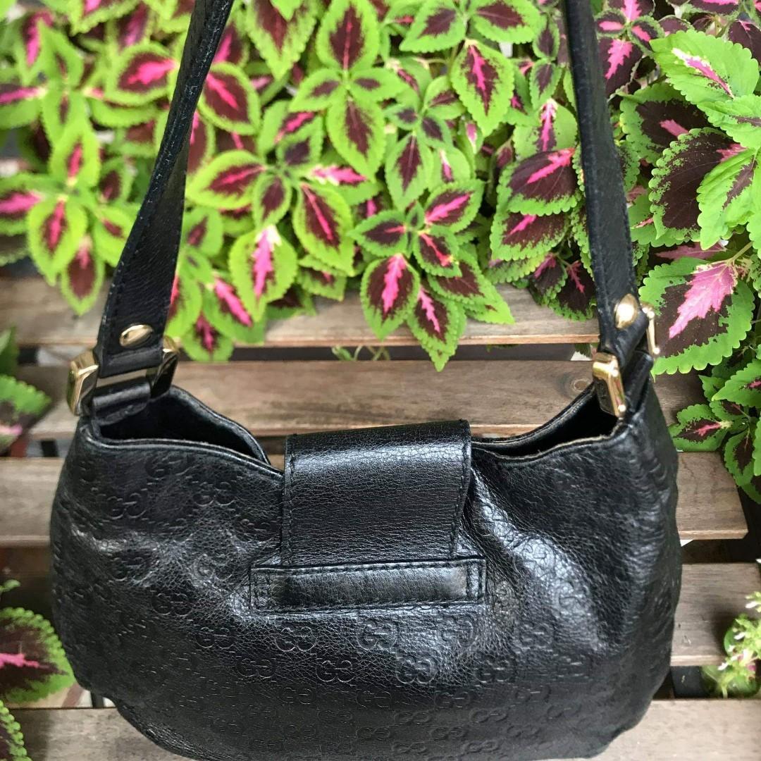 【Gucci保證正品。優質二手】國際精品全網最便宜 GUCCI 黑色 牛皮壓紋肩背包 OL包