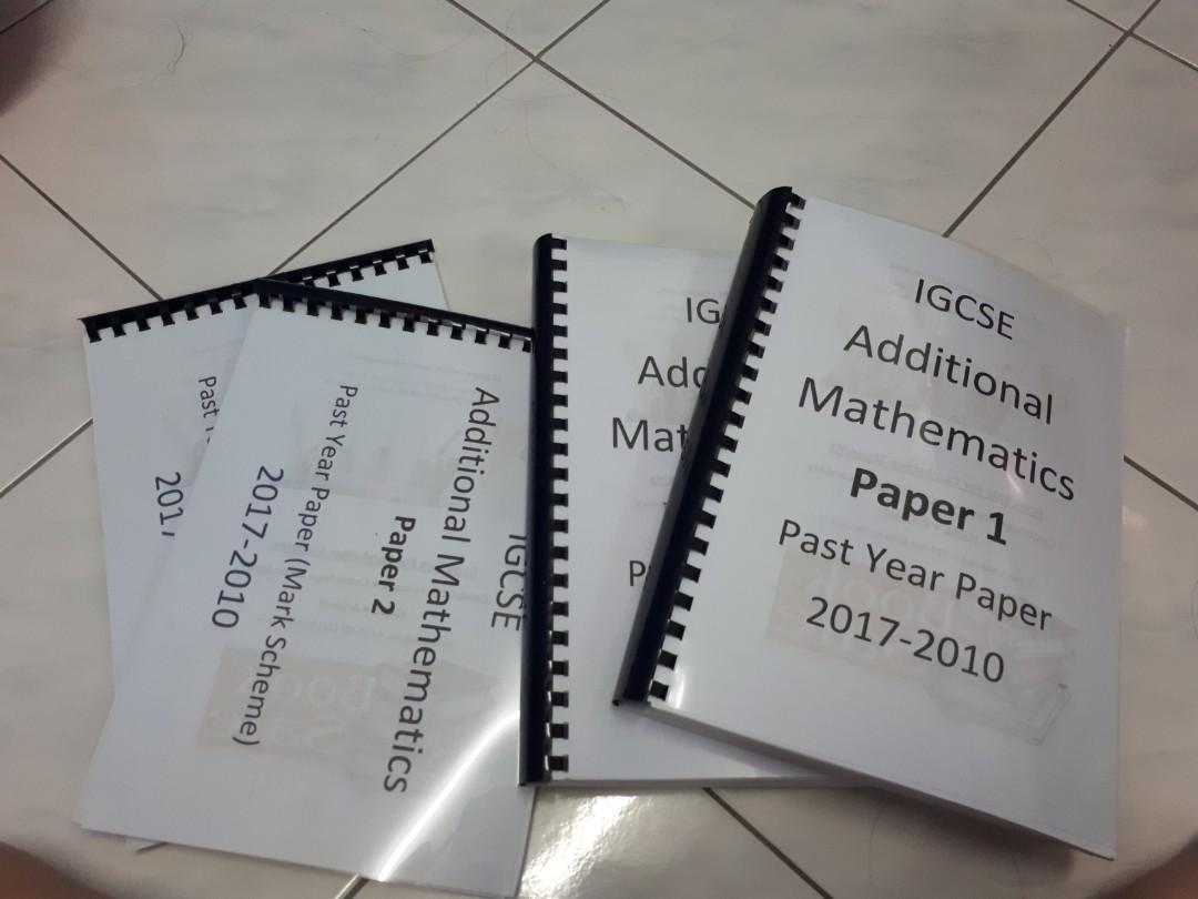 Additional mathematics, Mathematics, English, Physics igcse past year papers