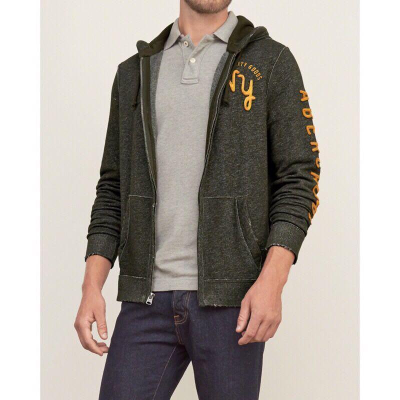 A&F 男生 連帽外套 薄外套 內刷毛外套 棉外套 正品 麋鹿 AF Abercrombie Fitch C1245