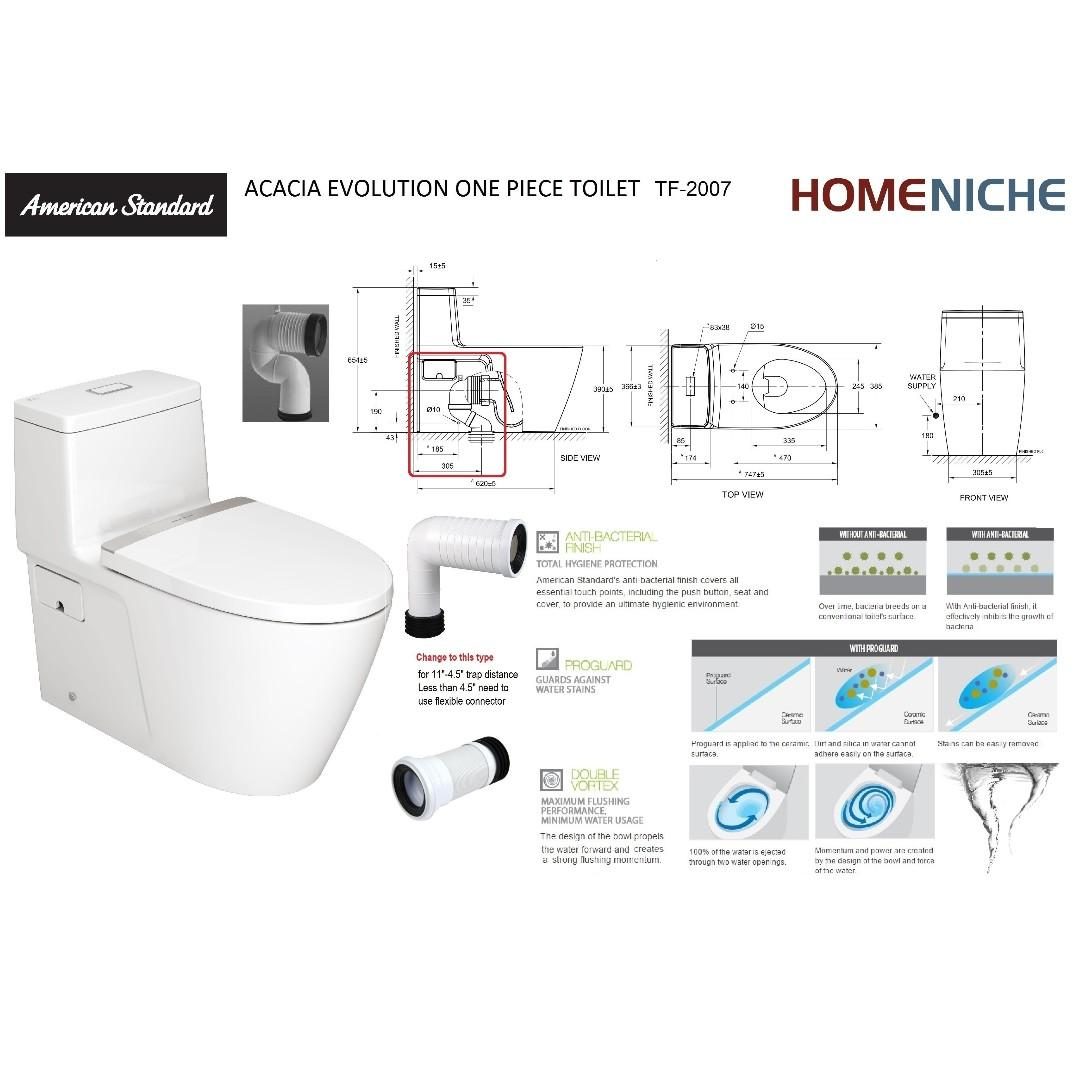 American Standard Acacia Evolution Tf2007 One Piece Type Toilet Bowl Furniture Others On Carousell