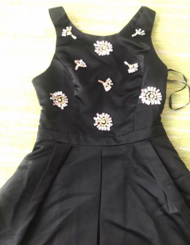 Brand New Exclusive Designer Black Cocktail Dress front Jewerled