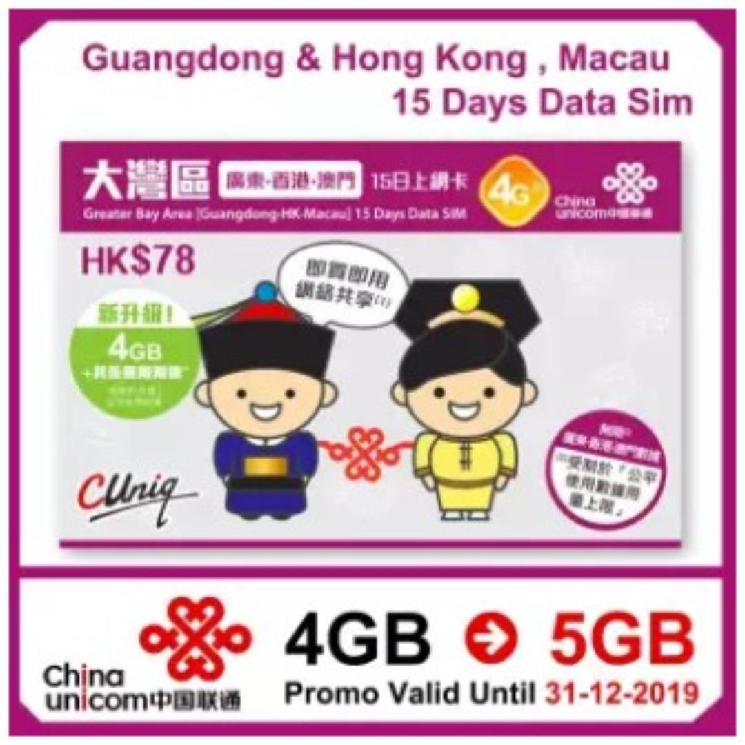 15 Days China Guangdong Province/Hong Kong/Macau Unlimited Travel Data Sim Card