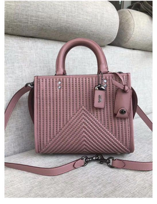 Coach 1941 Rogue 25 with Quilting and Rivets Dusty Rose/Black Copper Nappa Leather Satchel
