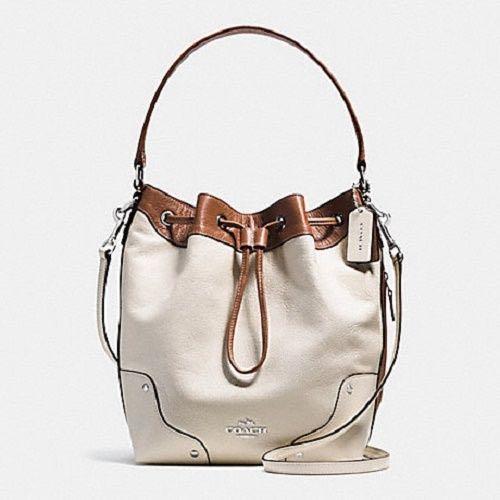 Coach F37680 Spectator Leather (SALE) Mickie Drawstring Bag Chalk Saddle (no long strap)