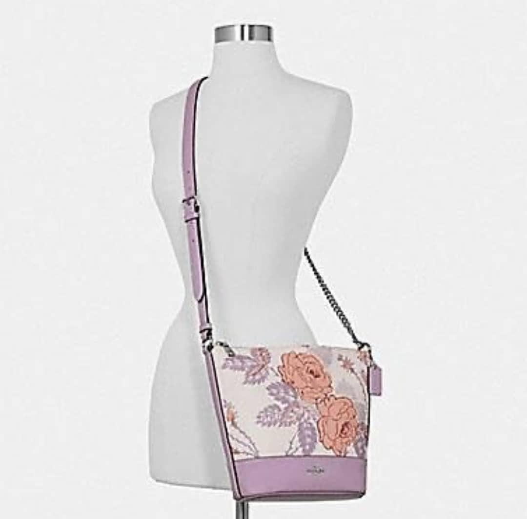 Coach Thorn Roses Small Paxton Duffle Chalk Purple Multi 20/29×23×8