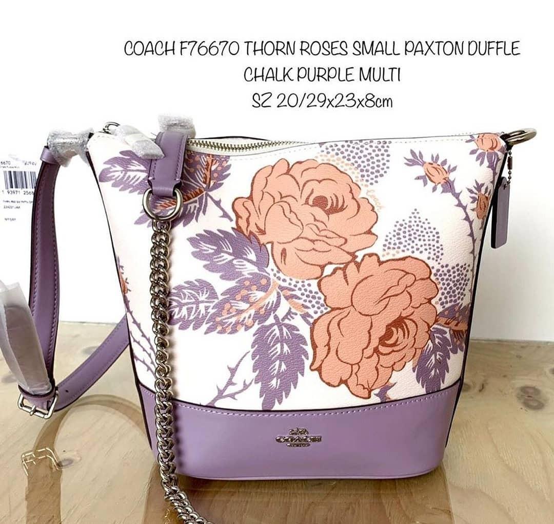 Coach Thorn Roses Small Paxton Duffle Chalk Purple Multi 20/29×23×8