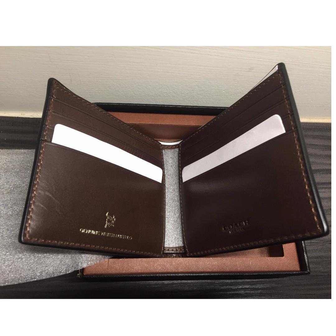 Coach水牛皮男皮夾-Boxed Double Billfold Wallet