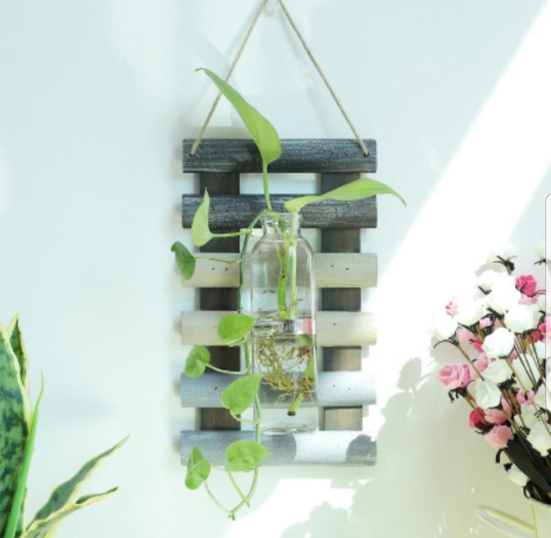 Country Rustic Wooden Hanging Wall Rack Holder for Succulents Plant Flowers
