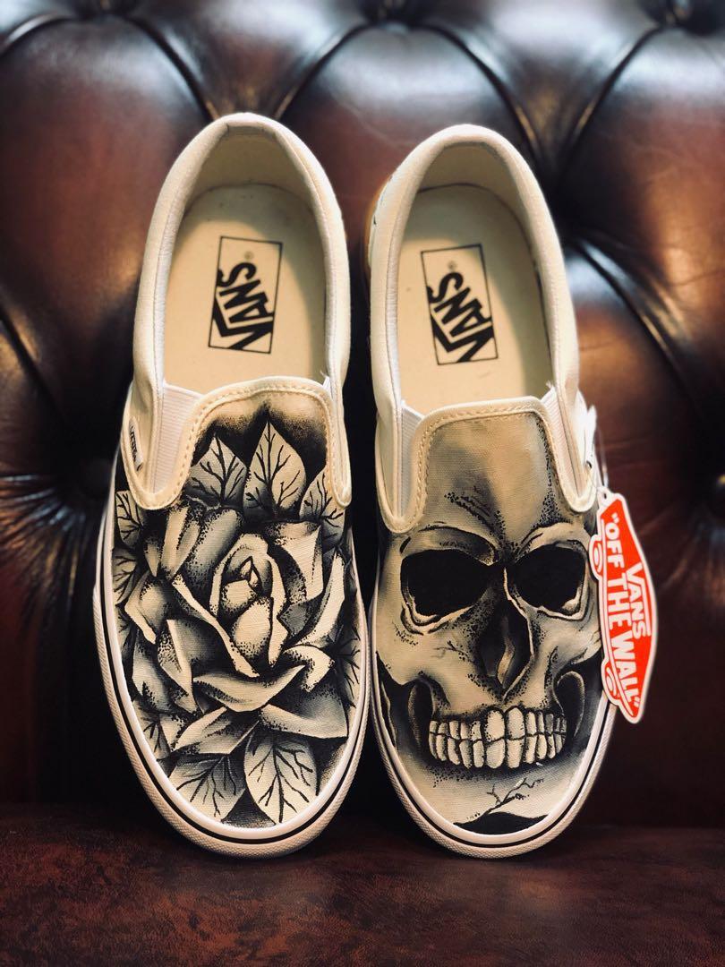 Custom painted Vans Skull and Rose