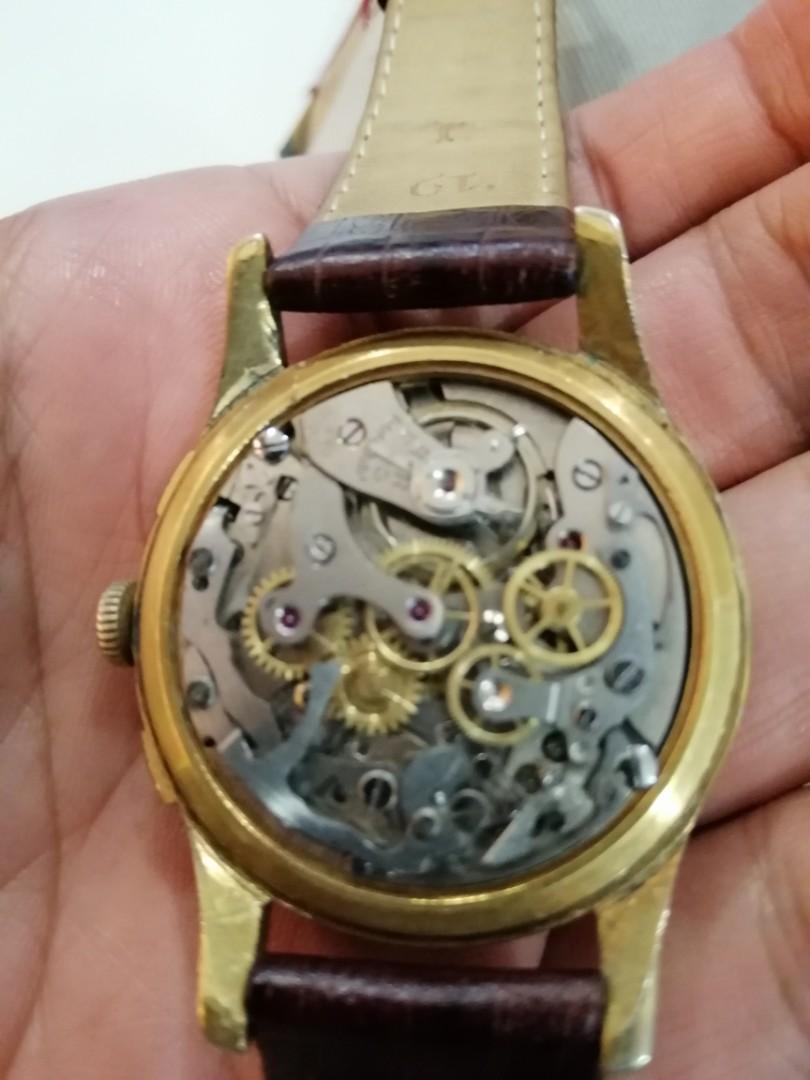 Dreffa Chronograph Swiss Made gold plated  Landeron movement vintage patina