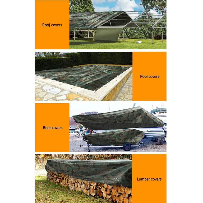 Instahut 2x3m Canvas Tarp Heavy Duty Camping Poly Tarps Tarpaulin Cover Camouflage