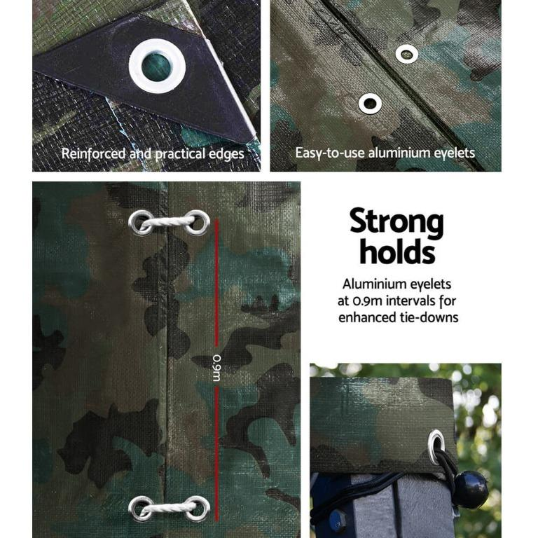 Instahut 3.6×4.8m Canvas Tarp Heavy Duty Camping Poly Tarps Tarpaulin Cover Camouflage