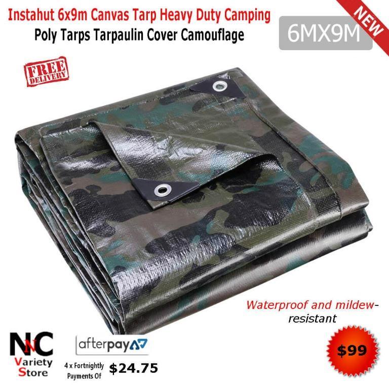 Instahut 6x9m Canvas Tarp Heavy Duty Camping Poly Tarps Tarpaulin Cover Camouflage