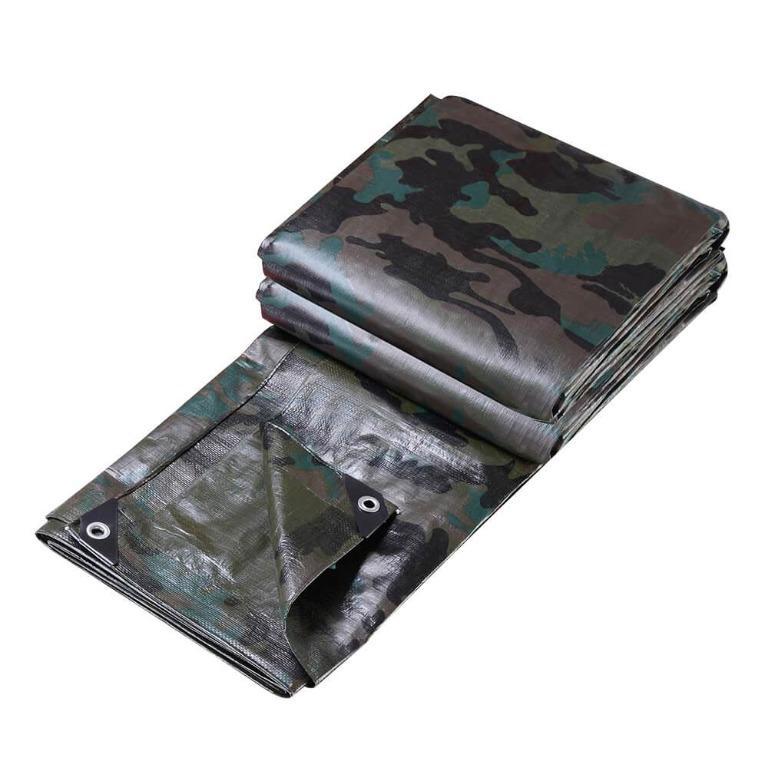 Instahut 9x12m Canvas Tarp Heavy Duty Camping Poly Tarps Tarpaulin Cover Camouflage