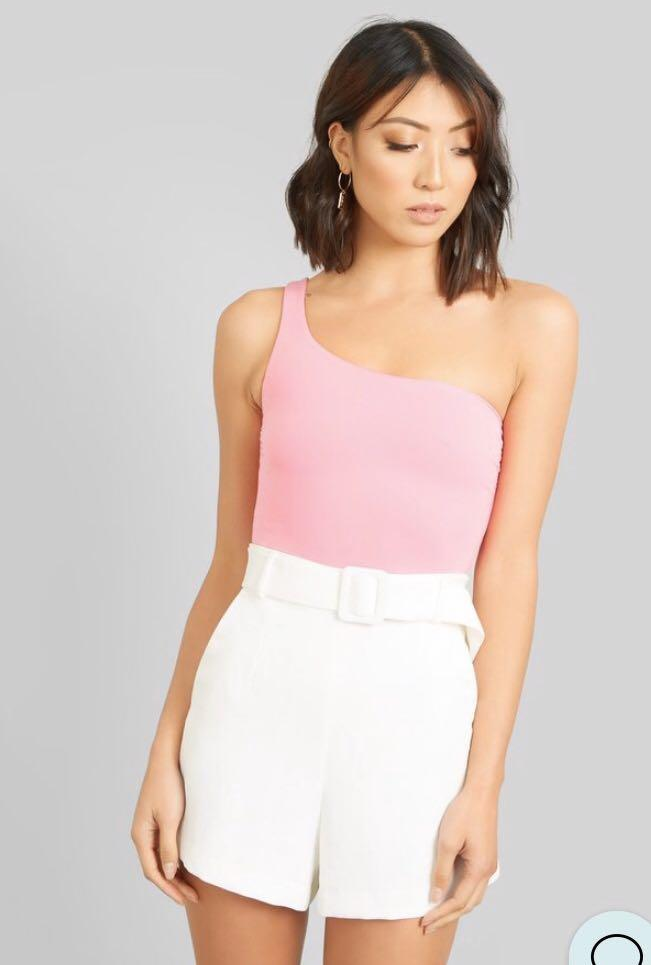 Kookai Sz 2/ 10 women top pink one shoulder bodysuit top brand new with tags