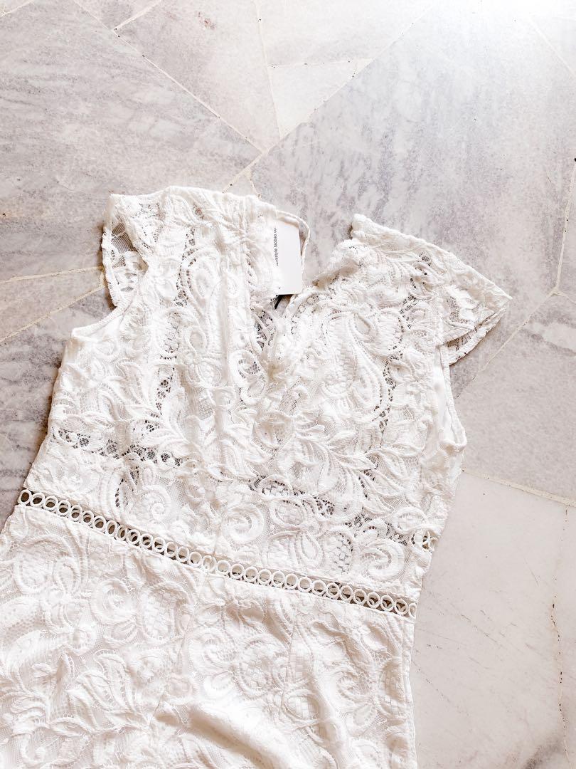 Laces White Romper / Jumpsuit #1111