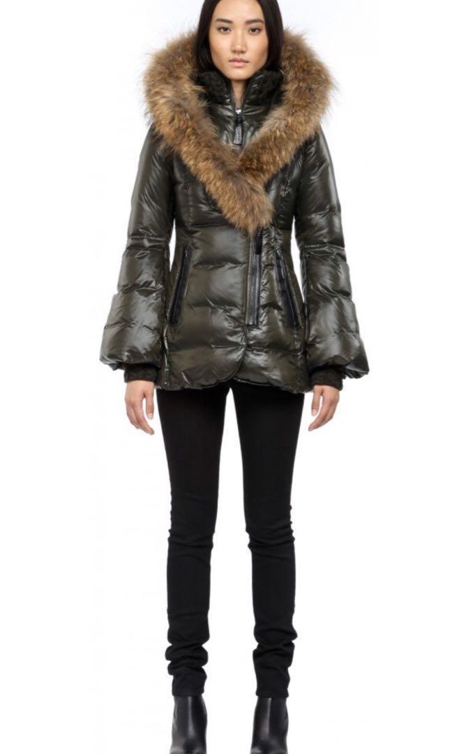 Mackage winter jacket coat with signature fur hood bell sleeves