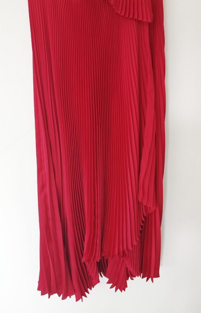 MILLY Wrap Pleated Satin Midi Dress in RED - Size US 6/AU 8-10 BNWOT