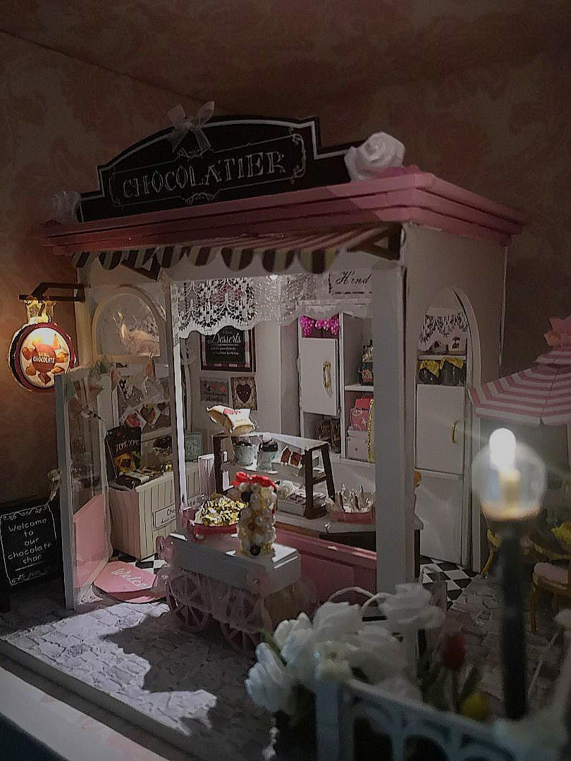 Miniature Pink Cafe Store with Lights and Batteries Included