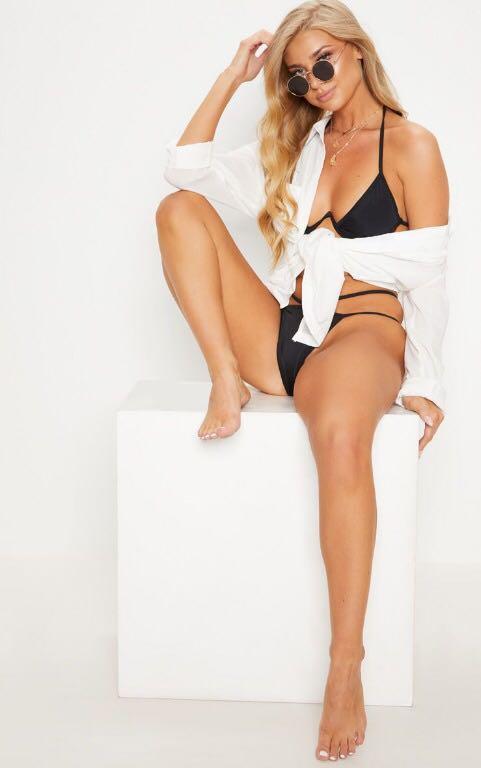 Pretty Little Thing Black Cleavage Wire Detail Bikini Top Size 12 - BNWT