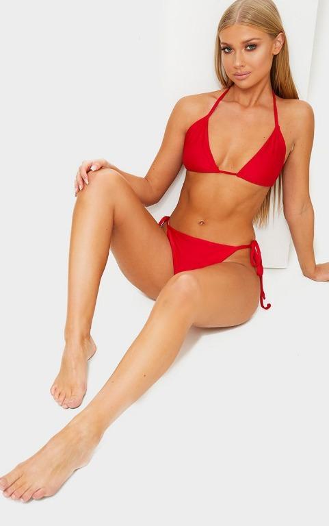 Pretty Little Thing Red Adjustable Tie Side Bikini Bottom - Size 8 BNWT