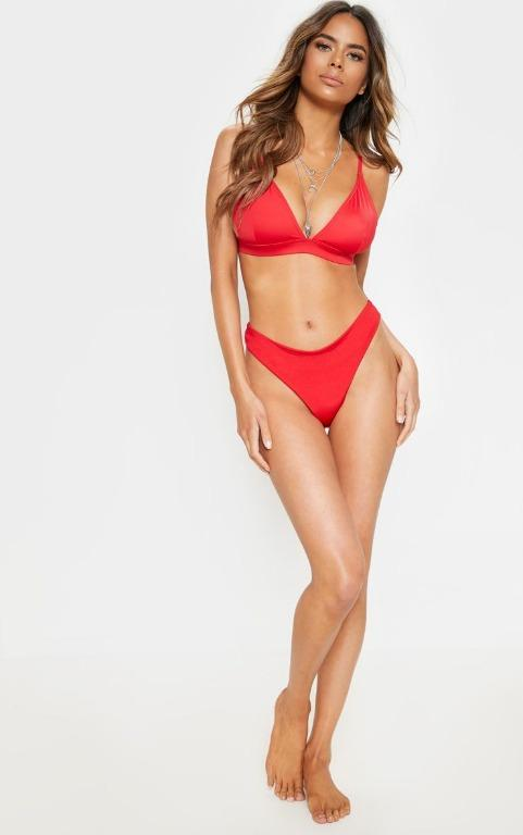 Pretty Little Thing Red Fuller Bust Triangle Bikini Top - BNWT