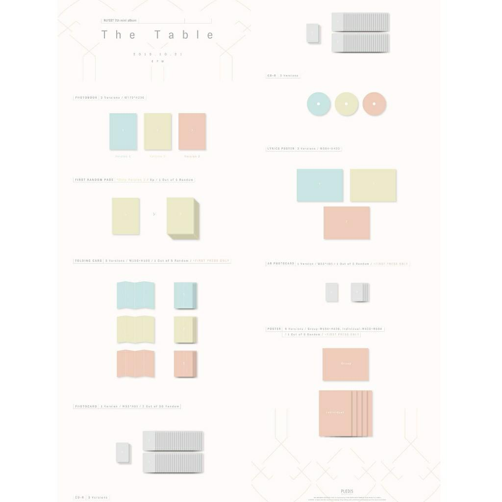 [SET/3CDs] NU'EST - THE TABLE + FREE POSTER IN TUBE + FREE SHIPPING