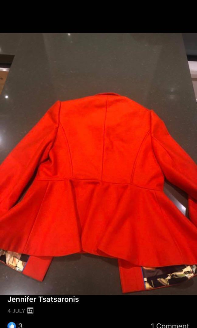 Ted Baker Sollel short peplum Coat size 3 (12) EUC