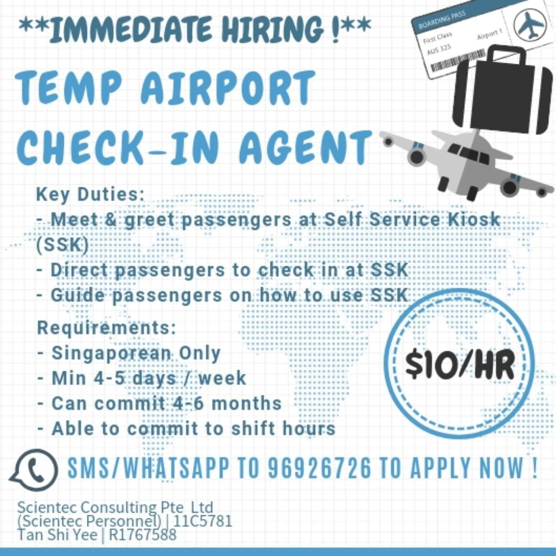 TEMP AIRPORT CHECK-IN AGENT | $10/HR | 4-5DAYS