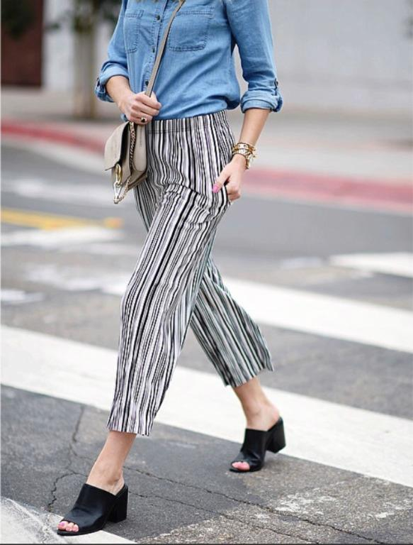 Topshop Black and White Stripe, Pleated Trousers/Culottes
