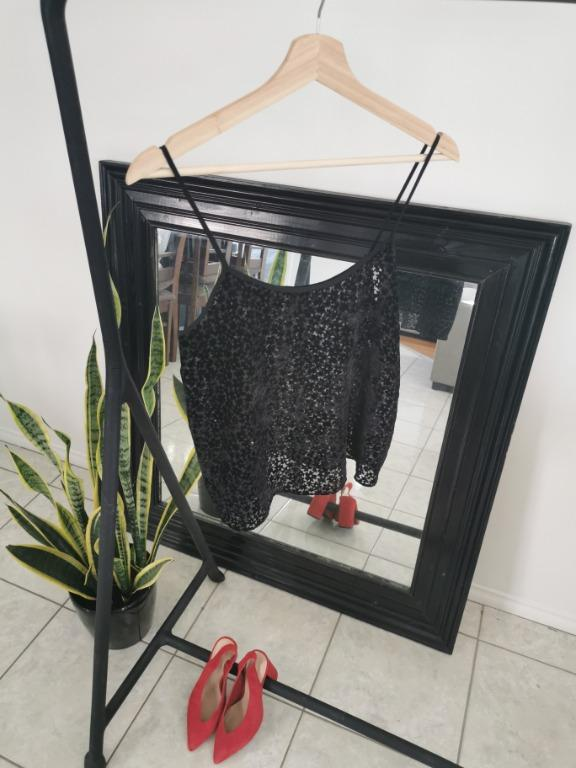 Topshop Petite Black Camisole Top With Mesh And Velvet Flower Detail Size 10