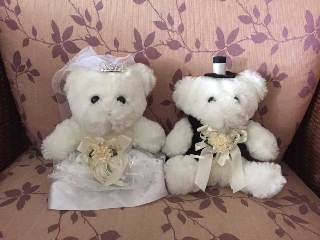 WEDDING CAR DECORATION BRIDE AND GROOM TEDDY BEAR