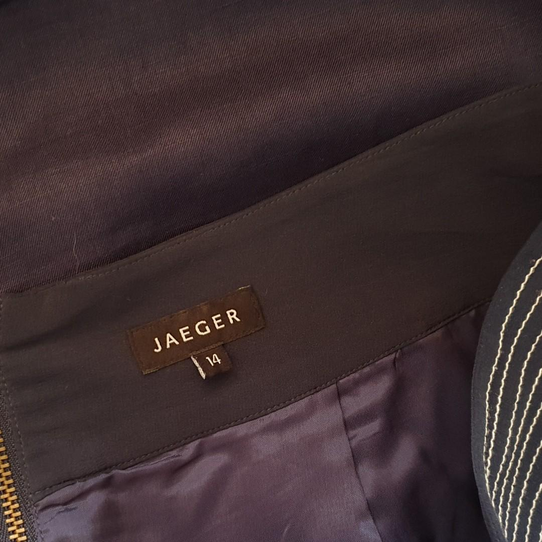 Women's size 14 'JAEGER' Gorgeous navy silk and linen pencil skirt with pockets - AS NEW