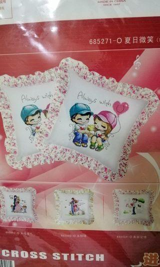Cross stitch pillow cushion 1