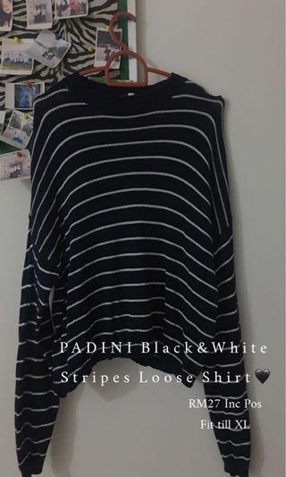 PADINI Black & White Stripes Loose Shirt