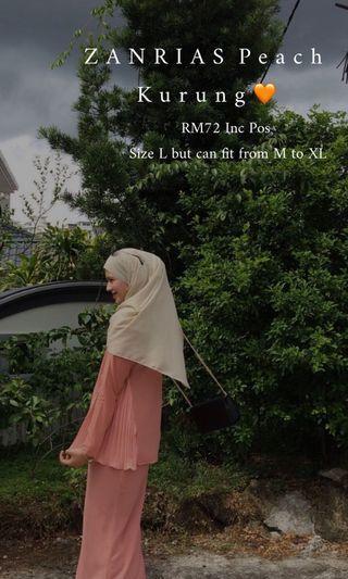 ZANRIAS Lisa Kurung Pleated In Peach Colour